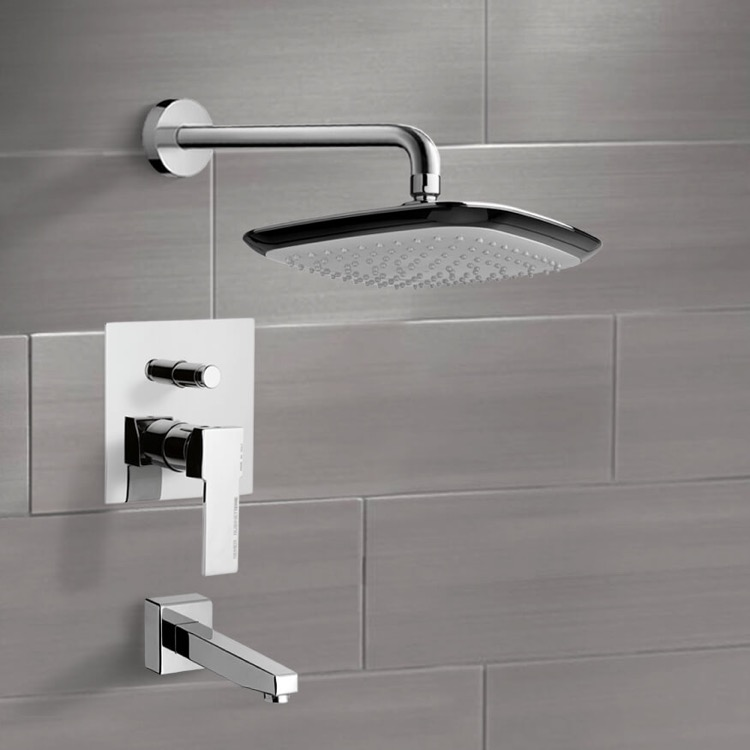 Tub and Shower Faucet, Remer TSF2228, Chrome Tub and Shower Faucet Sets with 9