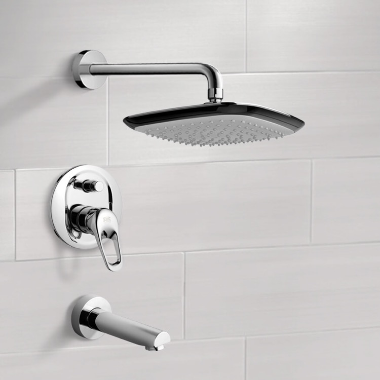 Tub and Shower Faucet, Remer TSF2229, Chrome Tub and Shower Faucet Sets with 9