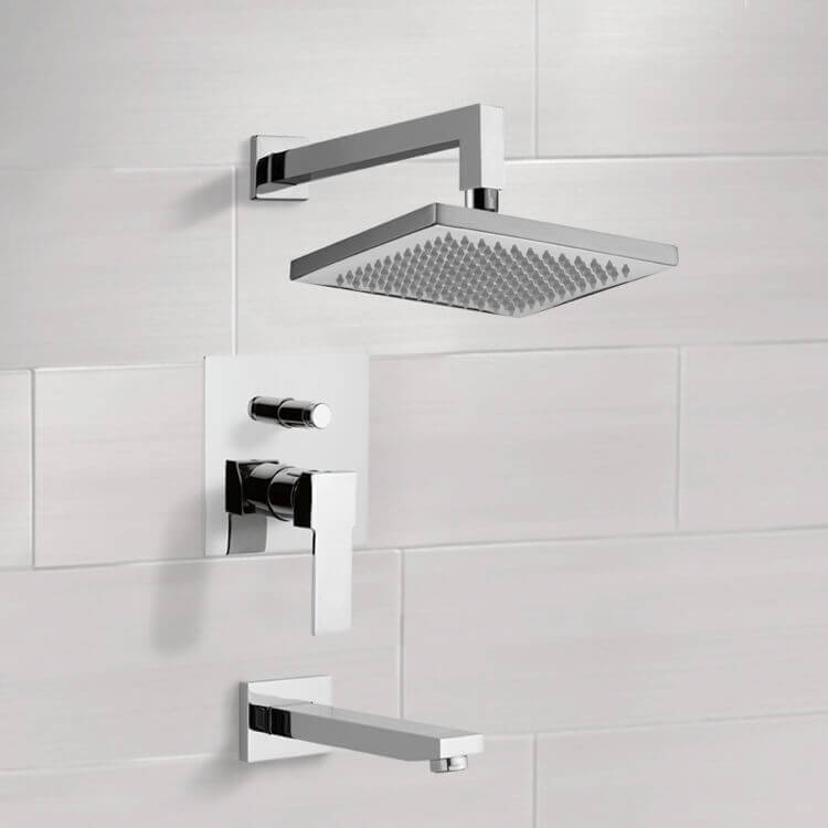 Tub and Shower Faucet, Remer TSF2299-CR, Chrome Tub and Shower Faucet Sets with 8