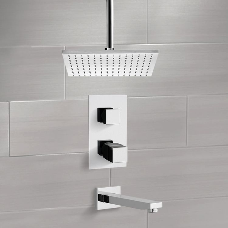 Tub and Shower Faucet, Remer TSF2402, Thermostatic Tub and Shower Faucet Sets with Ceiling 12