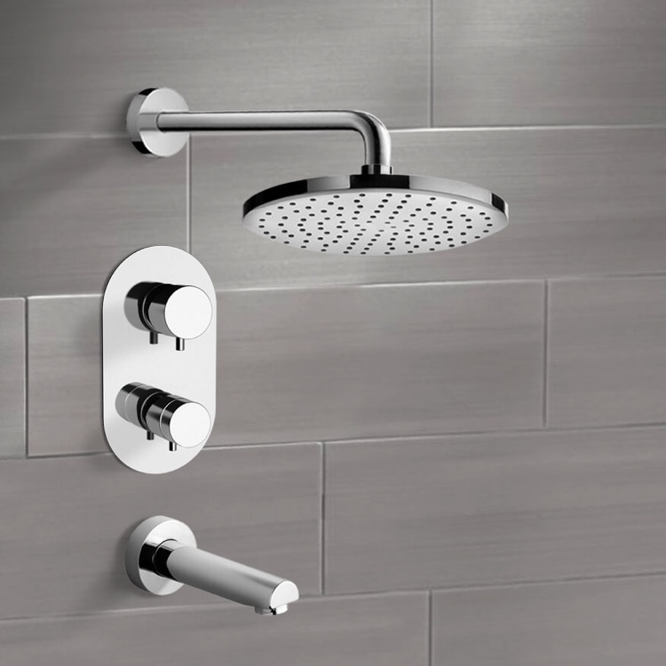 Tub and Shower Faucet, Remer TSF2408-8, Chrome Thermostatic Tub and Shower Faucet Sets with 8