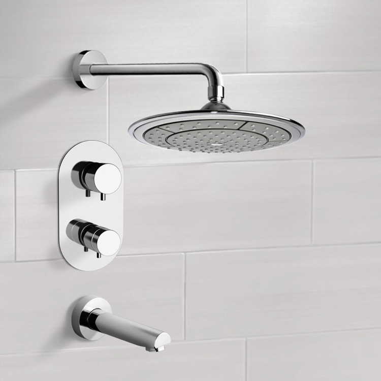 Tub and Shower Faucet, Remer TSF2409, Chrome Thermostatic Tub and Shower Faucet Sets with 9