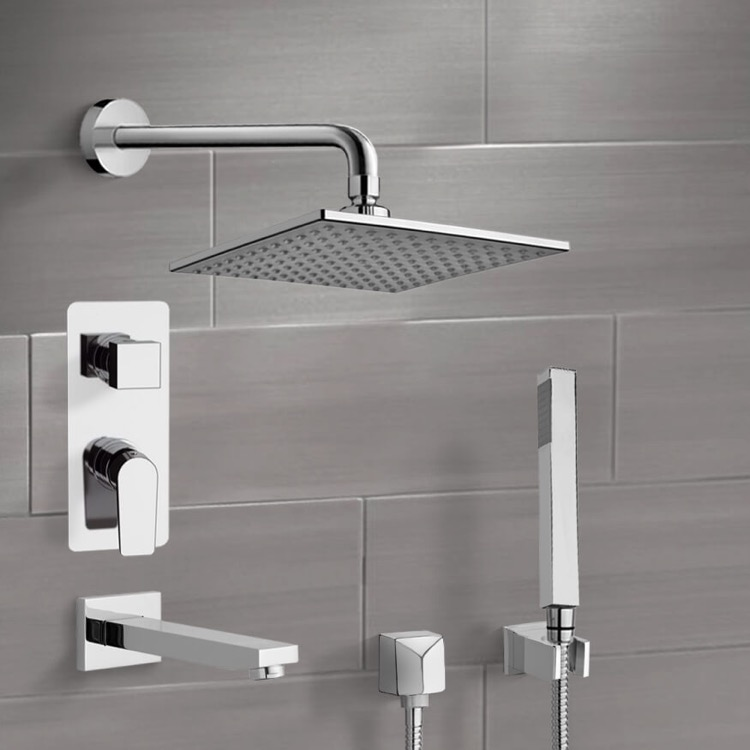 Remer TSH01 By Nameek\'s Orsino Chrome Tub and Shower System with 8 ...