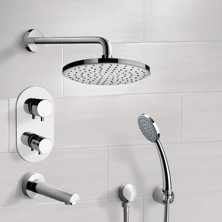 Tub and Shower Faucet, Remer TSH03-8, Chrome Thermostatic Tub and Shower System with 8