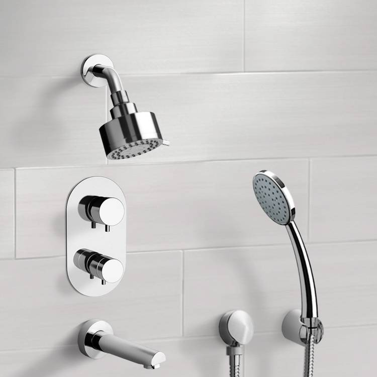 Tub and Shower Faucet, Remer TSH04, Chrome Thermostatic Tub and Shower System with Multi Function Shower Head and Hand Shower