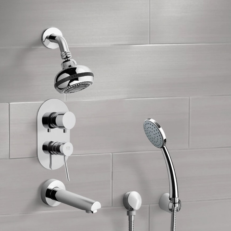 Chrome Tub and Shower System with Multi Function Shower Head and ...