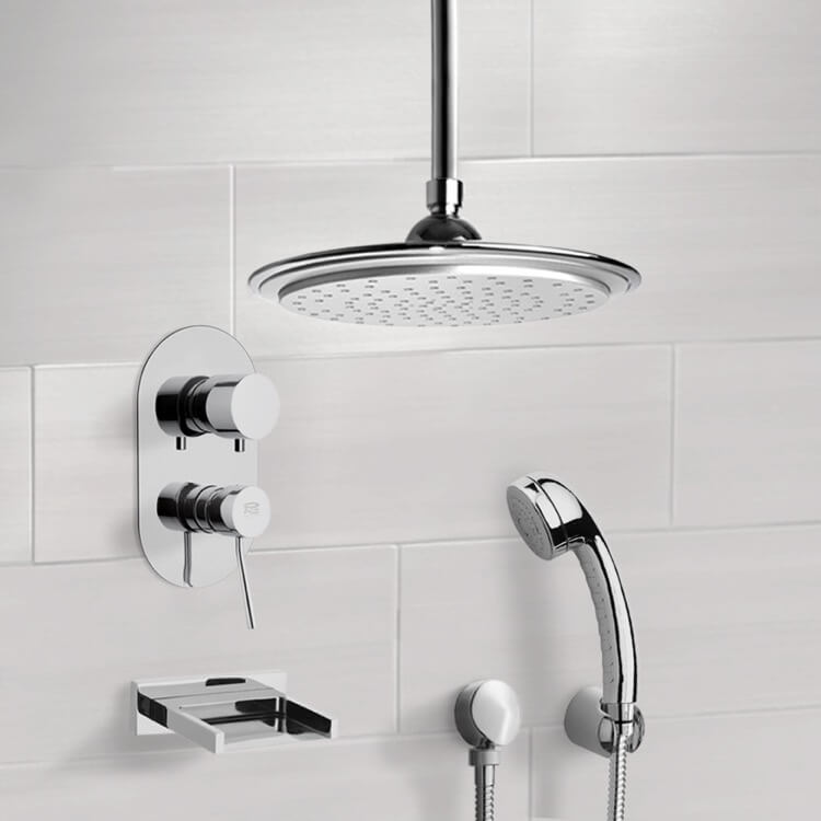 Tub and Shower Faucet, Remer TSH4011, Chrome Tub and Shower System with 9