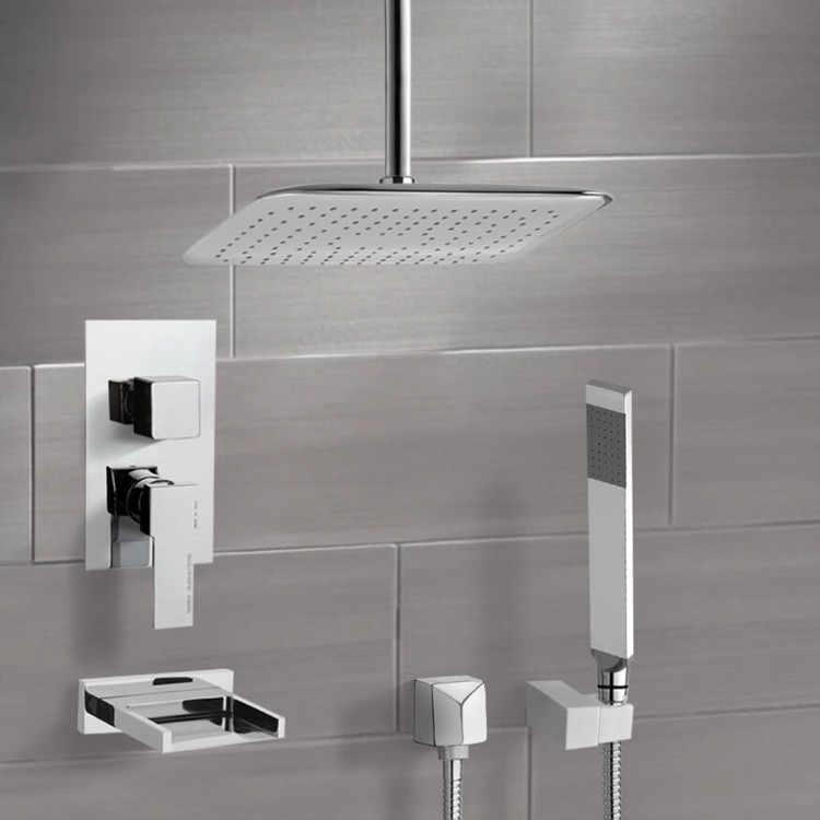 Tub and Shower Faucet, Remer TSH4018, Chrome Tub and Shower System with Ceiling 14