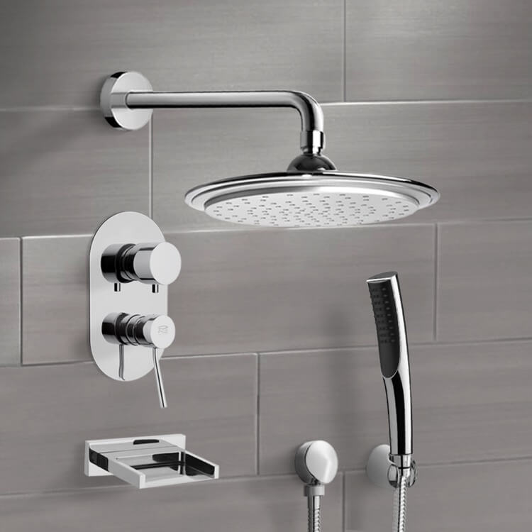 Tub and Shower Faucet, Remer TSH4043, Chrome Tub and Shower System with 9