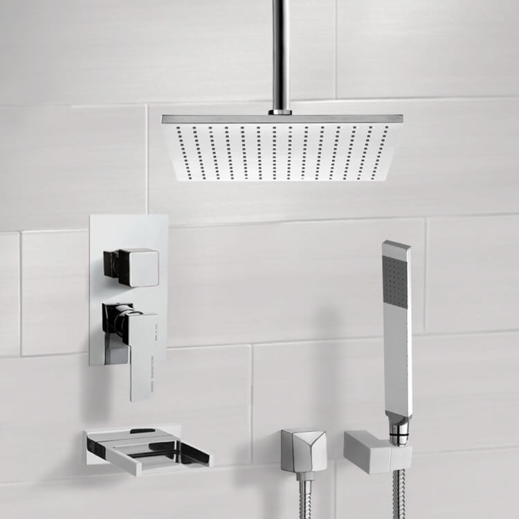 Tub and Shower Faucet, Remer TSH4098, Chrome Tub and Shower System with Ceiling 12