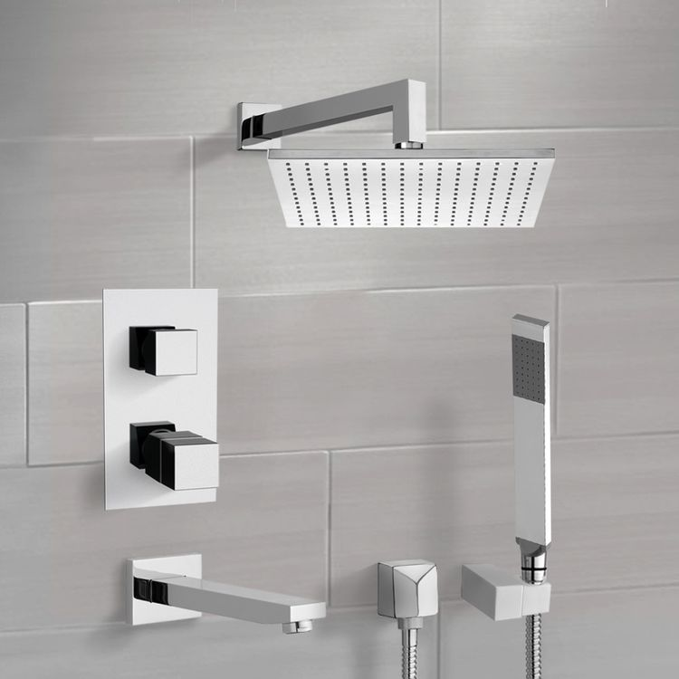 Tub and Shower Faucet, Remer TSH4403, Chrome Thermostatic Tub and Shower System with 12