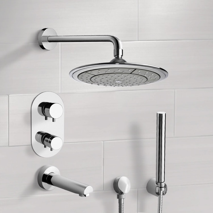 Tub and Shower Faucet, Remer TSH4408, Chrome Thermostatic Tub and Shower System with 9