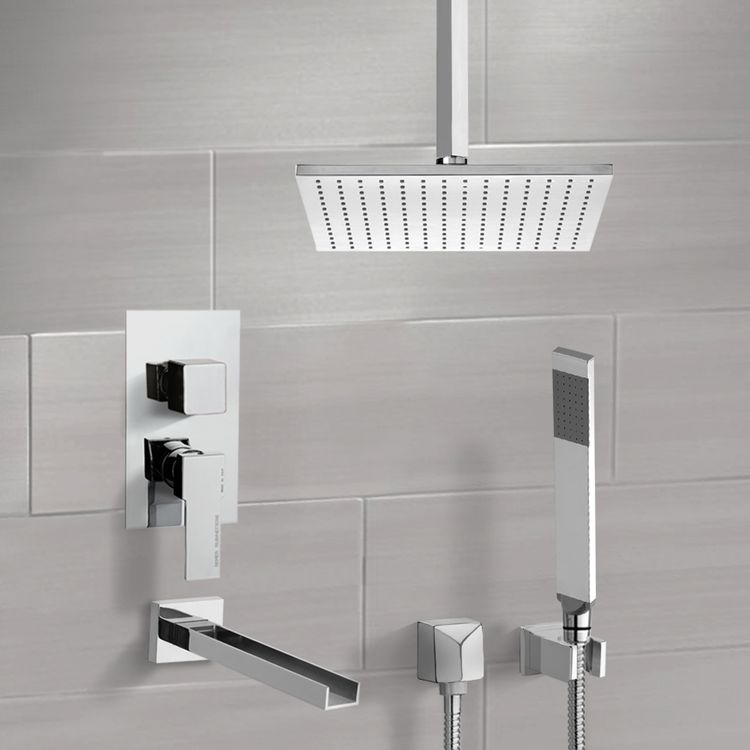 Tub and Shower Faucet, Remer TSH4506-CR, Chrome Tub and Shower System with Ceiling 12