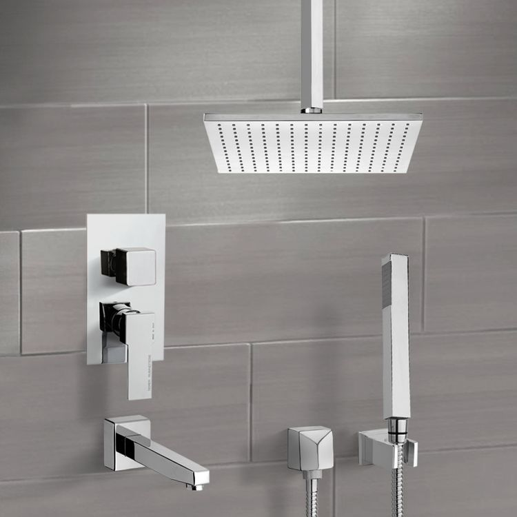 Tub and Shower Faucet, Remer TSH4507-CR, Chrome Tub and Shower System with Ceiling 12