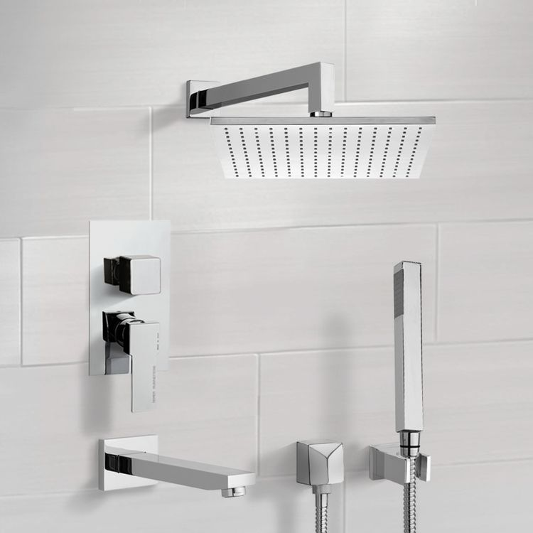 Tub and Shower Faucet, Remer TSH4509-CR, Chrome Tub and Shower System with 12