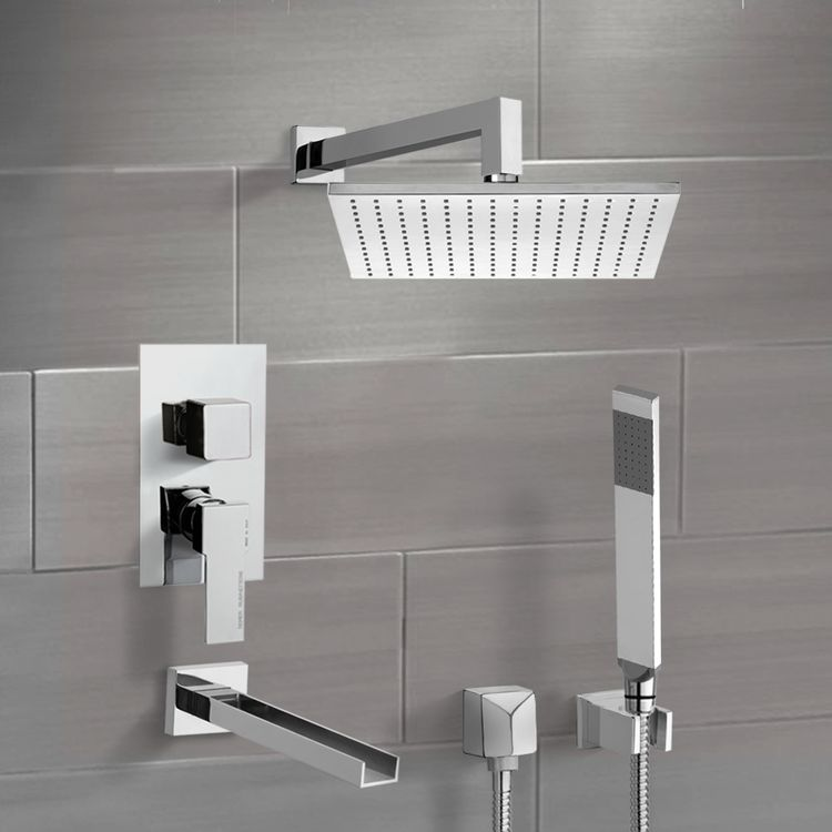 Tub and Shower Faucet, Remer TSH4511-CR, Chrome Tub and Shower System with 12