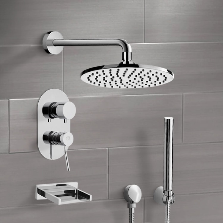 Tub and Shower Faucet, Remer TSH4538-CR, Chrome Tub and Shower System with 8