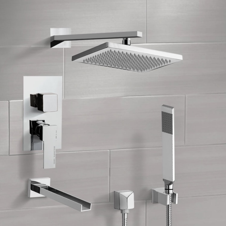 Tub and Shower Faucet, Remer TSH4543-CR, Chrome Tub and Shower System with 9.5