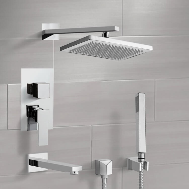 Tub and Shower Faucet, Remer TSH4544-CR, Chrome Tub and Shower System with 9.5
