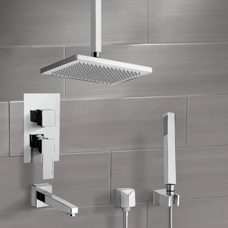 Tub and Shower Faucet, Remer TSH4546-CR, Chrome Tub and Shower System with Ceiling 9.5