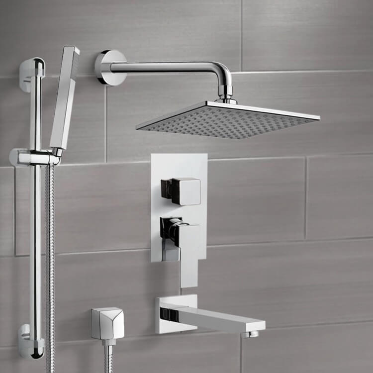 Tub and Shower Faucet, Remer TSR02, Chrome Tub and Shower System with 8