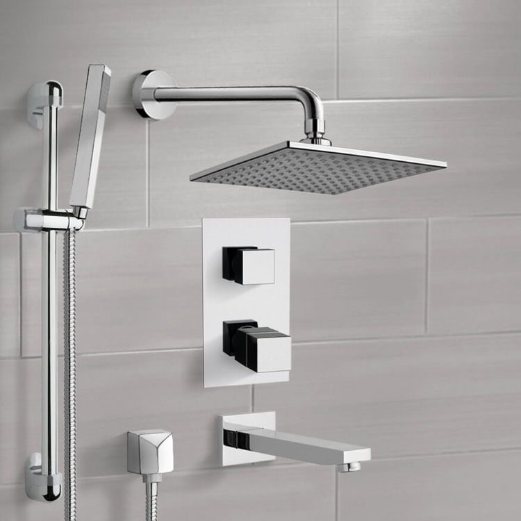 Tub and Shower Faucet, Remer TSR03, Chrome Thermostatic Tub and Shower System with 8