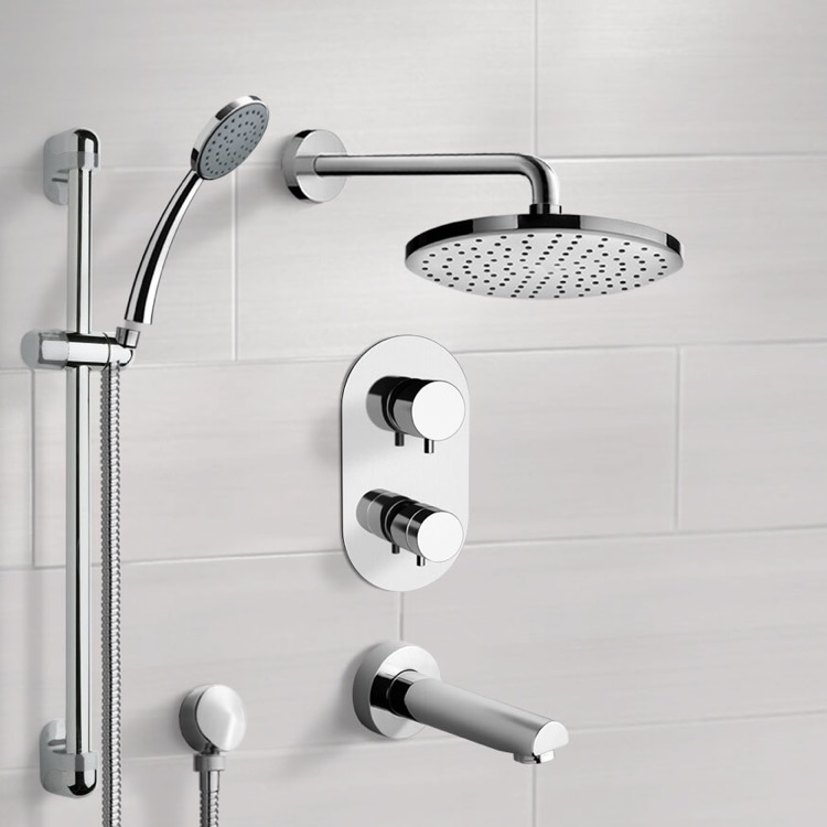 Tub and Shower Faucet, Remer TSR04-8, Chrome Thermostatic Tub and Shower System with 8