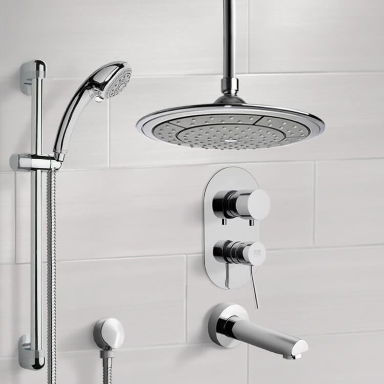 Tub and Shower Faucet, Remer TSR9001, Chrome Tub and Shower System with 9