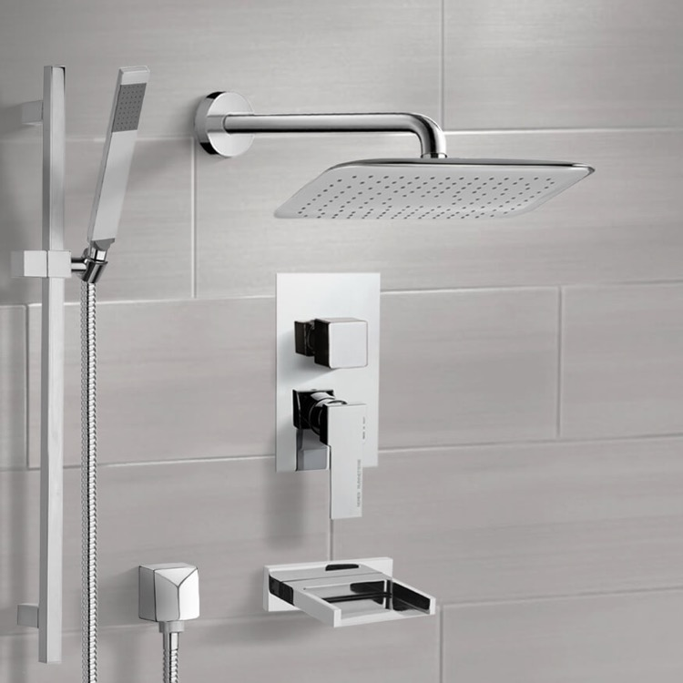 Tub and Shower Faucet, Remer TSR9057, Chrome Tub and Shower System with 14