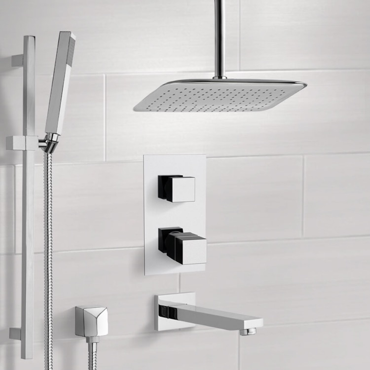 Tub and Shower Faucet, Remer TSR9400, Chrome Thermostatic Tub and Shower System with Ceiling 14