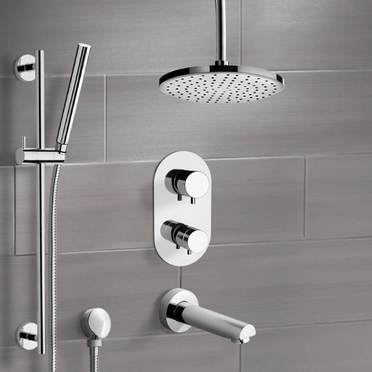 Tub and Shower Faucet, Remer TSR9405-8, Chrome Thermostatic Tub and Shower System with 8