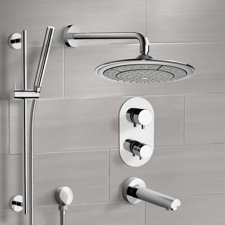 Tub and Shower Faucet, Remer TSR9408, Chrome Thermostatic Tub and Shower System with 9