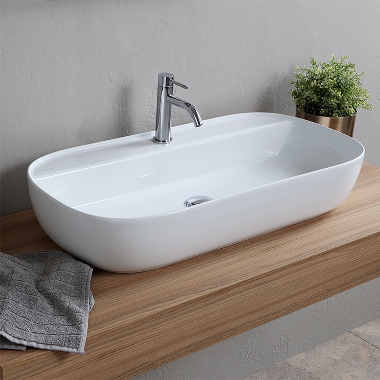 Bathroom Sink, Scarabeo 1801-One Hole, Oval White Ceramic Trough Vessel Sink