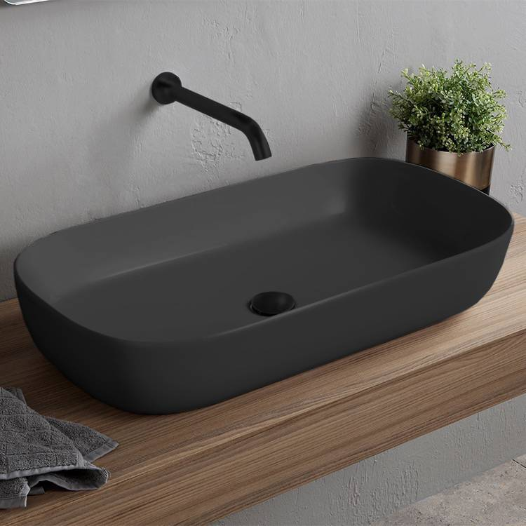 Bathroom Sink, Scarabeo 1803-49-No Hole, Oval Matte Black Vessel Sink in Ceramic