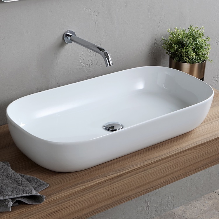 Bathroom Sink, Scarabeo 1803-No Hole, Oval White Ceramic Trough Vessel Sink