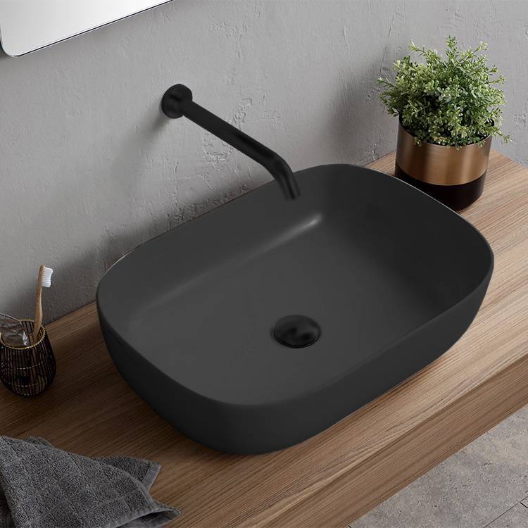 Bathroom Sink, Scarabeo 1804-49-No Hole, Oval Matte Black Vessel Sink in Ceramic