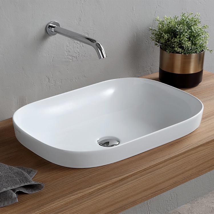 Bathroom Sink, Scarabeo 1805-No Hole, Oval White Ceramic Drop In Sink
