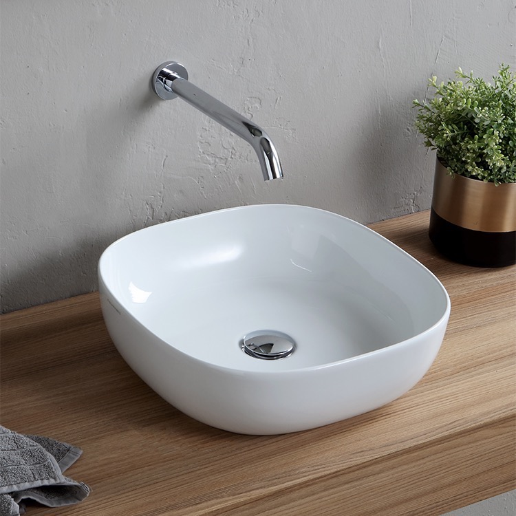 Bathroom Sink, Scarabeo 1806-No Hole, Round White Ceramic Vessel Sink