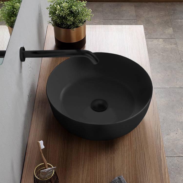 Scarabeo 1807 49 By Nameek S Glam Round Matte Black Vessel Sink In Ceramic Thebathoutlet