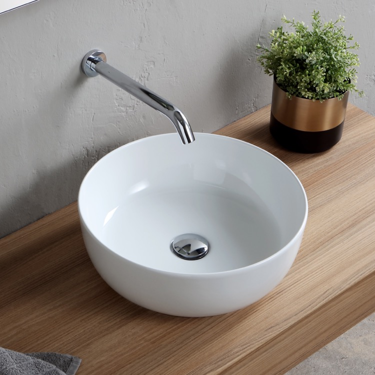 Bathroom Sink, Scarabeo 1807-No Hole, Round White Ceramic Vessel Sink