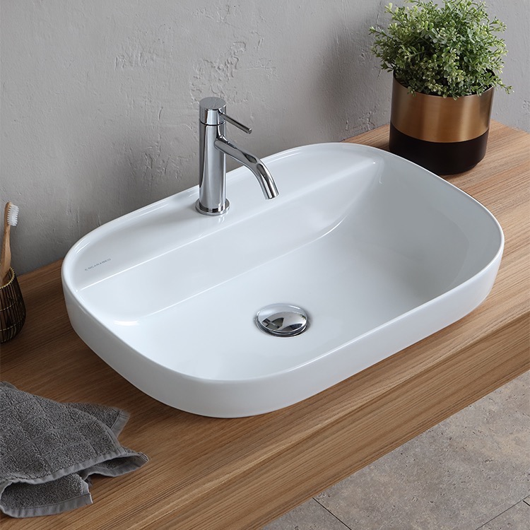 Bathroom Sink, Scarabeo 1810-One Hole, Oval White Ceramic Drop In Sink