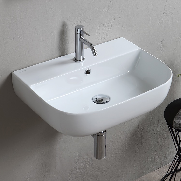 Bathroom Sink, Scarabeo 1811-One Hole, Modern White Ceramic Wall Mounted or Vessel Sink