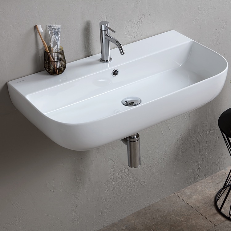 Bathroom Sink, Scarabeo 1812-One Hole, Modern White Ceramic Wall Mounted or Vessel Sink