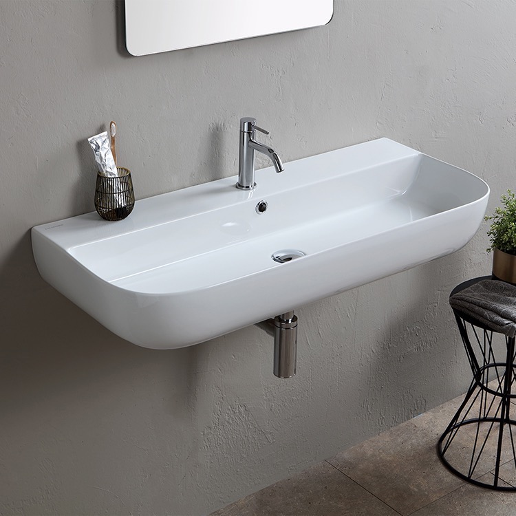 Bathroom Sink, Scarabeo 1813, Modern White Ceramic Wall Mounted or Vessel Sink