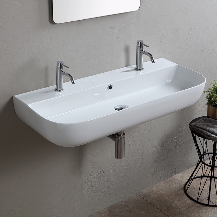 Bathroom Sink, Scarabeo 1813B-Two Hole, Modern White Ceramic Wall Mounted or Vessel Sink