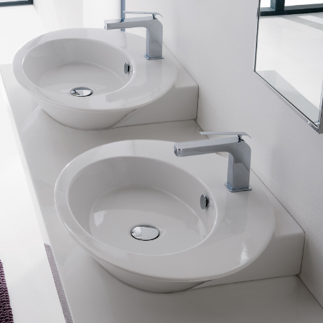 Bathroom Sink, Scarabeo 2001-One Hole, Oval Shaped White Ceramic Wall Mounted or Vessel Sink