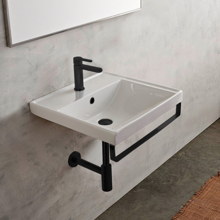 Bathroom Sink, Scarabeo 3001-TB-BLK-One Hole, Square Wall Mounted Ceramic Sink With Matte Black Towel Bar