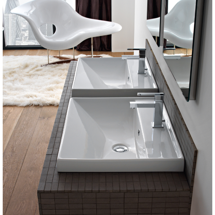 Scarabeo 3004 By Nameek S Ml Rectangular White Ceramic Wall Mounted Or Drop In Bathroom Sink Thebathoutlet