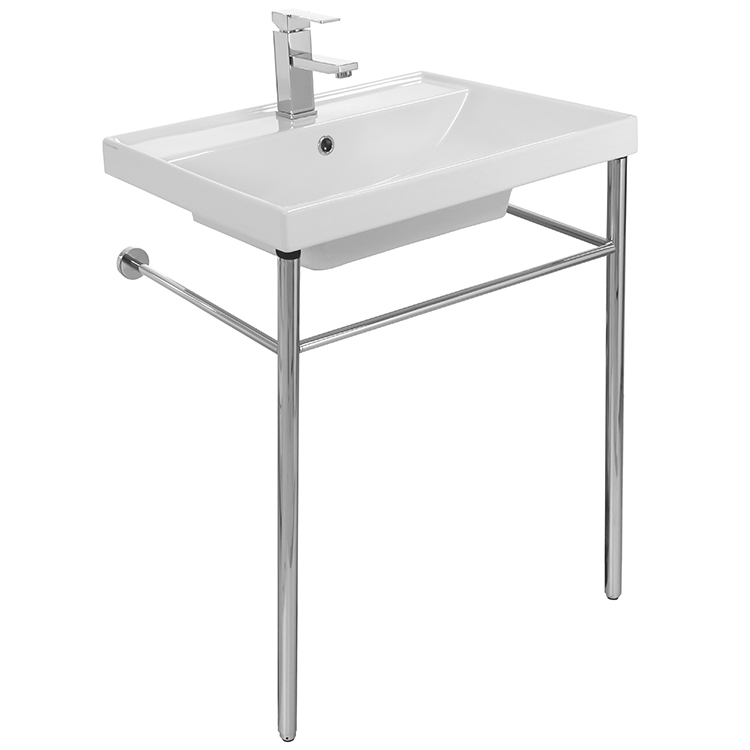 Bathroom Sink, Scarabeo 3004-CON-One Hole, Rectangular Ceramic Console Sink and Polished Chrome Stand