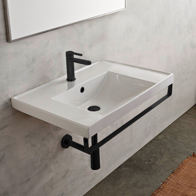 Bathroom Sink, Scarabeo 3005-TB-BLK-One Hole, Rectangular Wall Mounted Ceramic Sink With Matte Black Towel Bar